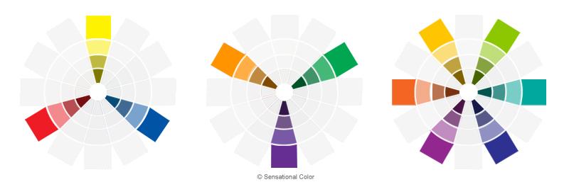 màu sắc với cường độ màu khác nhau